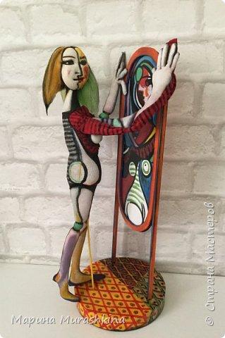 Текстильная кукла 'Девушка перед зеркалом' сшита по одноименной картине Пикассо. Попробовала сшить вот такой арт)) фото 4