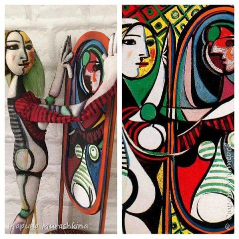 Текстильная кукла 'Девушка перед зеркалом' сшита по одноименной картине Пикассо. Попробовала сшить вот такой арт)) фото 2