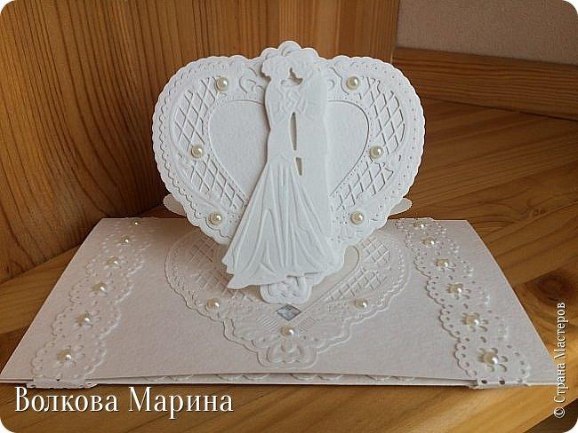 Опять Свадебная открыточка.  Для меня свадьба - это белоснежные цвета и ажур. Поэтому открыточка в этом стиле. фото 1