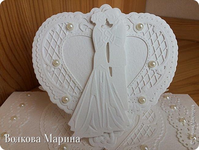Опять Свадебная открыточка.  Для меня свадьба - это белоснежные цвета и ажур. Поэтому открыточка в этом стиле. фото 2