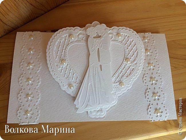 Опять Свадебная открыточка.  Для меня свадьба - это белоснежные цвета и ажур. Поэтому открыточка в этом стиле. фото 3