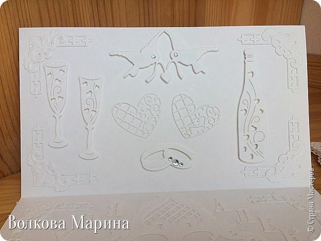 Опять Свадебная открыточка.  Для меня свадьба - это белоснежные цвета и ажур. Поэтому открыточка в этом стиле. фото 4