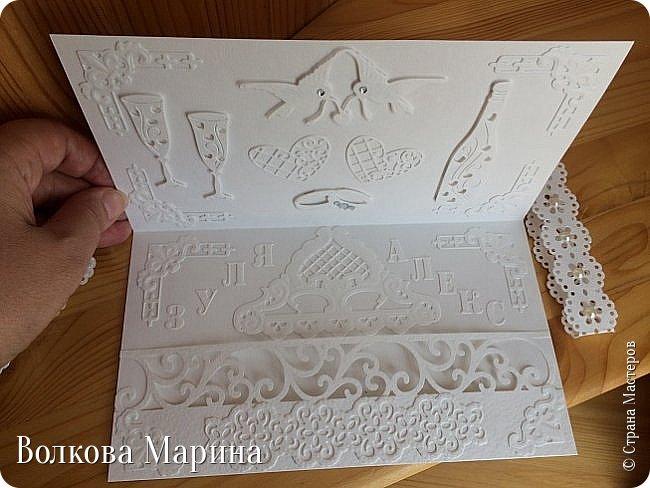 Опять Свадебная открыточка.  Для меня свадьба - это белоснежные цвета и ажур. Поэтому открыточка в этом стиле. фото 5