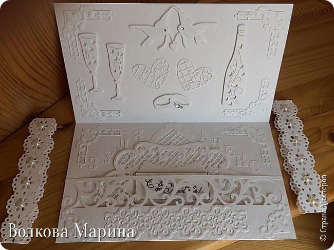Опять Свадебная открыточка.  Для меня свадьба - это белоснежные цвета и ажур. Поэтому открыточка в этом стиле. фото 9