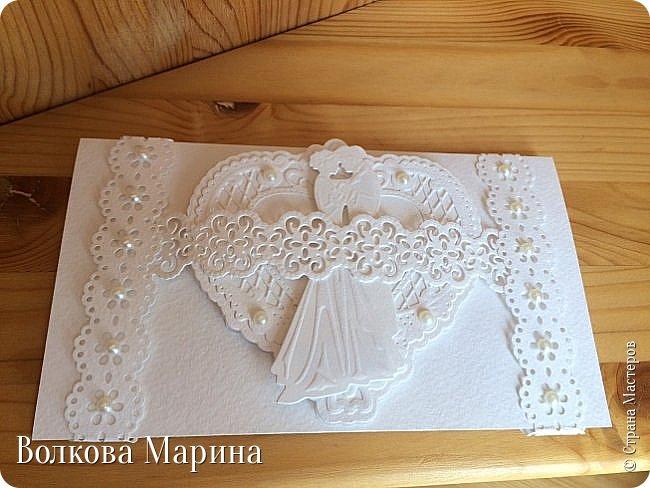 Опять Свадебная открыточка.  Для меня свадьба - это белоснежные цвета и ажур. Поэтому открыточка в этом стиле. фото 10