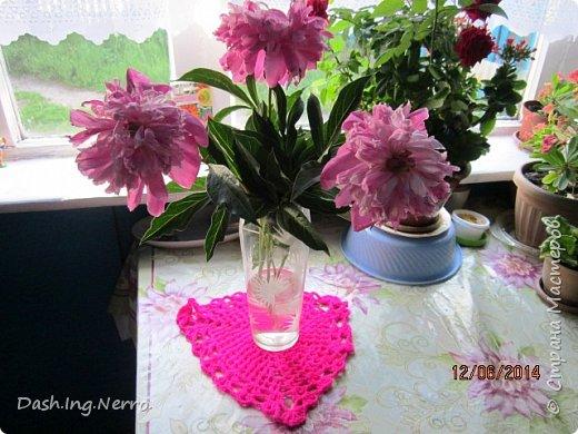"""Вязанная тёмно-розовая салфетка"". фото 21"