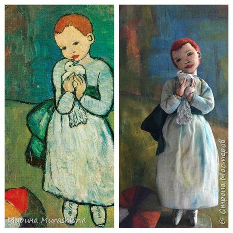 Еще одна работа по мотивам Пикассо - текстильная кукла 'Девочка с голубем'  фото 2