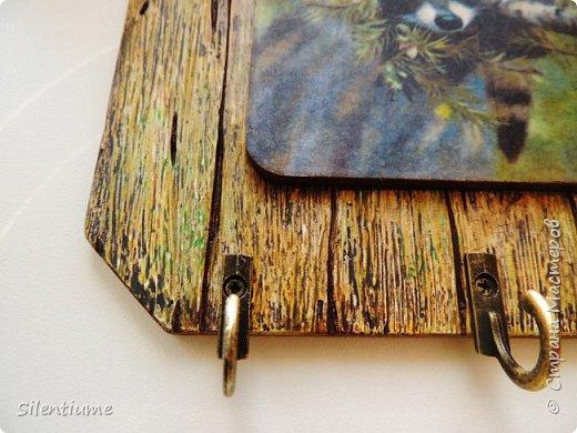 """Всем - здравствуйте! Выкладываю свои работы по имитации досочек по МК  Раушании Нуретдиновой. Очень интересный и занимательный процесс, а уж какой простор для фантазии!!  Ключница """"Енотушка"""" :) фото 2"""