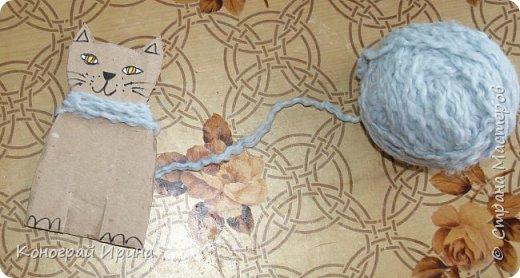 Котёнок из картона и ниток. фото 6