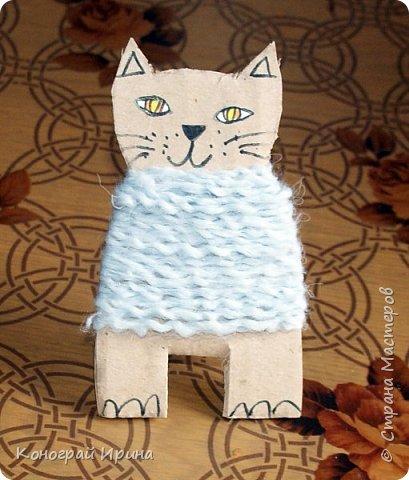 Котёнок из картона и ниток. фото 12