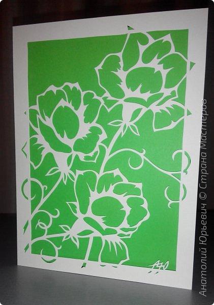 """Всем добрый день! Вашему вниманию новая открытка. Рисунок для эскиза был взят на просторах интернета.  - Эскиз был выполнен, изменён и доработан под """"вырезалку"""". (Открытки выполнены в четырёх вариантах цвета картона: черный, красный, бежевый и светло голубой) - Размер 12х16см.  фото 12"""