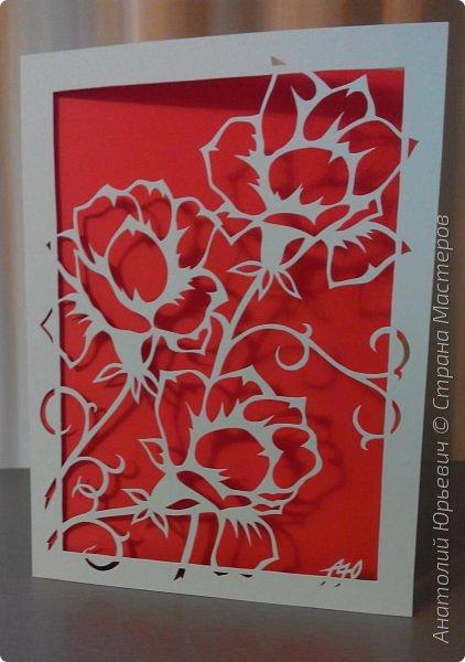 """Всем добрый день! Вашему вниманию новая открытка. Рисунок для эскиза был взят на просторах интернета.  - Эскиз был выполнен, изменён и доработан под """"вырезалку"""". (Открытки выполнены в четырёх вариантах цвета картона: черный, красный, бежевый и светло голубой) - Размер 12х16см.  фото 15"""