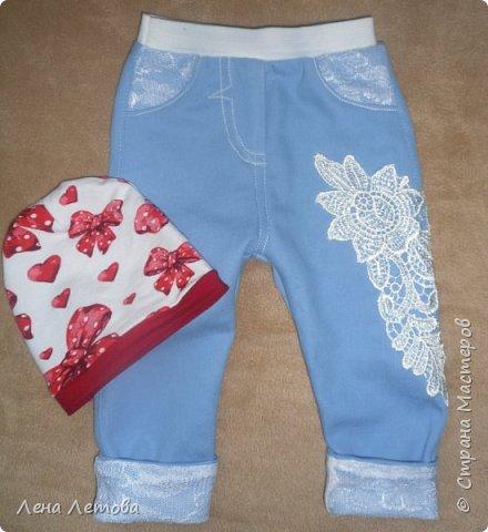 Доче 1,5 месяца. Ткань джинс. Шапочка из трикотажа. фото 1