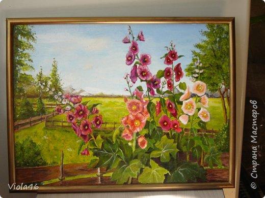 Деревенский пейзаж с сиренью. Мой первый опыт в живописи. Срисовала, как могла, с картины художника Прищепы. Так понравилась, что захотелось подойти к этой сирени и окунуться в эту красоту и благоуханье. Грунтованный картон, 30х40 см, акрил. фото 3