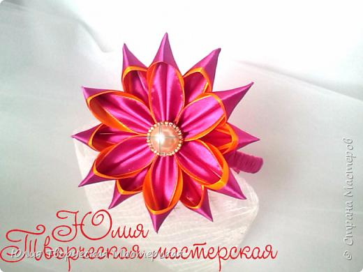 Большой цветок канзаши из лент 2,5 см Мастер-класс Двойной лепесток