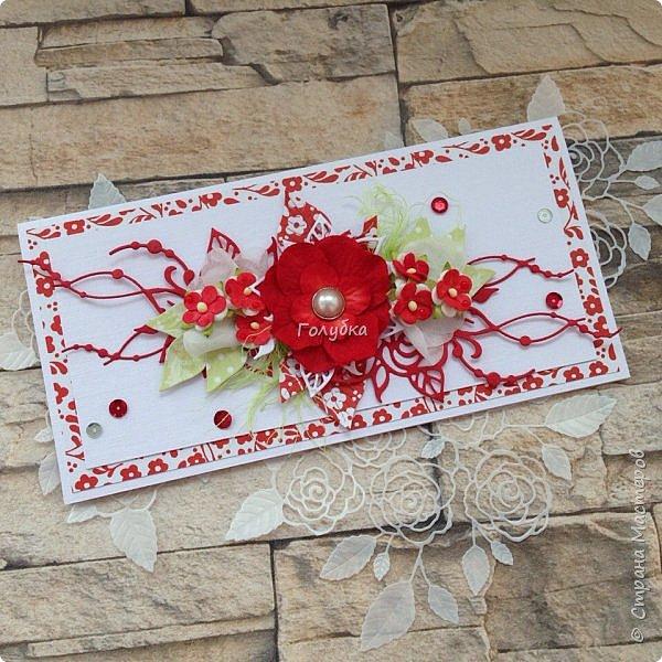 """Свадьбы продолжаются:) Результат этой недели. Открытка с кармашком на свадьбу цвета страсти:) , из бумаги Galeria Papiery """"НЕЖНЫЕ СЛОВА""""  фото 1"""