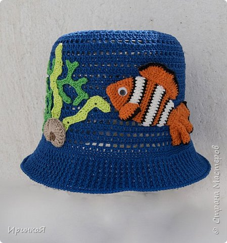 """Панамка связана для мальчика 2-3 лет, рыбка из любимого детьми мультфильма """"В поисках Немо) фото 1"""