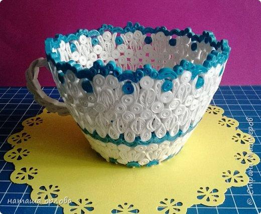 """Здравствуйте жители прекрасной """"Страны мастеров"""". Сегодня я хочу рассказать вам как создать вот такую чайную чашку в бело-голубых тонах. Работа не простая. Если  заинтересовались, садитесь поудобней рассказ будет длинным. фото 26"""
