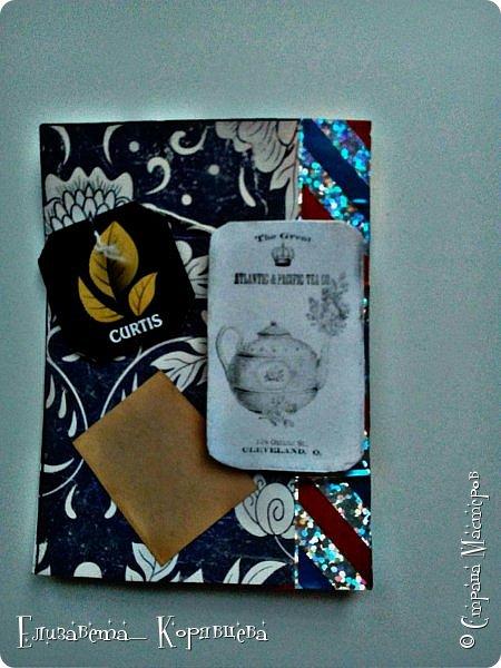 Вот такие карточки у меня получились) Использовала:Бумагу,этикетки от чая,распечатки,скотч. фото 2