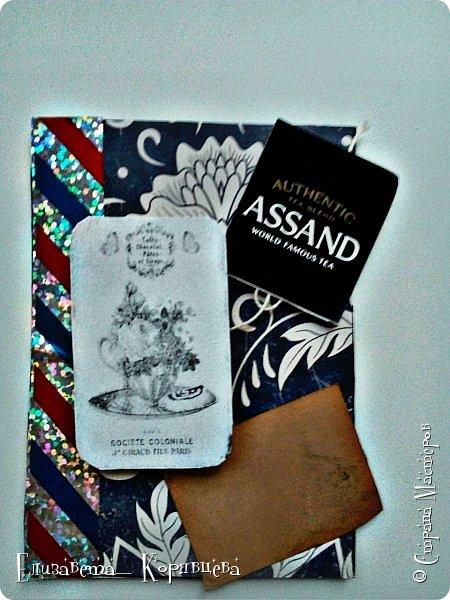 Вот такие карточки у меня получились) Использовала:Бумагу,этикетки от чая,распечатки,скотч. фото 3