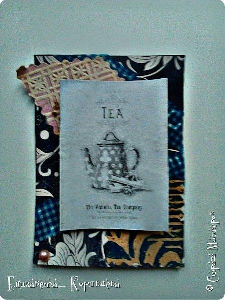 Вот такие карточки у меня получились) Использовала:Бумагу,этикетки от чая,распечатки,скотч. фото 4