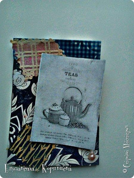 Вот такие карточки у меня получились) Использовала:Бумагу,этикетки от чая,распечатки,скотч. фото 5
