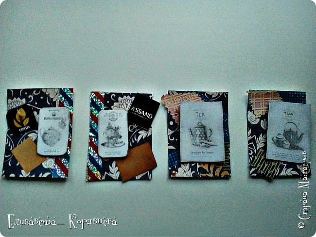 Вот такие карточки у меня получились) Использовала:Бумагу,этикетки от чая,распечатки,скотч. фото 1
