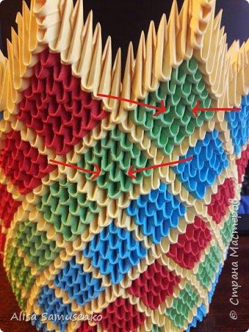За основу работы была использована вот эта лампа http://stranamasterov.ru/node/950757. Цвет и форма не меняла т.к не думала что доведу до ума, следовательно начало работы не запечатлила. Все было сделано из подручных средств кроме разумеется бумаги лампочки и провода. Всего было использовано примерно 1000 красных, зеленых и синих модулей и 2000 желтых. Размер 1/32. Под ножку желательно вырезать круг из картона.  фото 13