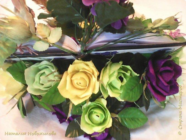 Снова заказ мужа для коллеги, пока он мой основной заказчик. Подарок на день рождения учителя русского и литературы, любимые цветы - фиалки, любимые цвета - желтый и зеленый. В результате вот , что у меня получилось, по моему в точку... фото 4