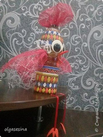 Петушок  сделан для украшения на дачный участок. Будет сидеть на длинном шесте и болтать на ветру своими лапками. Использовались: 1,5 литровая пластиковая бутылка для туловища; крылья, гребень и хвост - сетка от букета; глаза взяты от старой мягкой игрушки; клюв - накладные ногти))). Узоры частично выполнены по рисунку бутылки темперной краской, которая при высыхании образует прочный несмываемый слой. фото 1