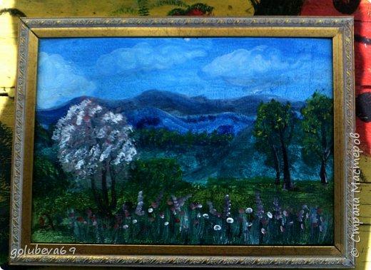 """Горный пейзаж. Картон 30Х40, акрил. Картина нарисована по МК на Ютубе """"картина за 3 минуты"""". Рисовала Анжелика 8 лет, я ей помогала. фото 3"""