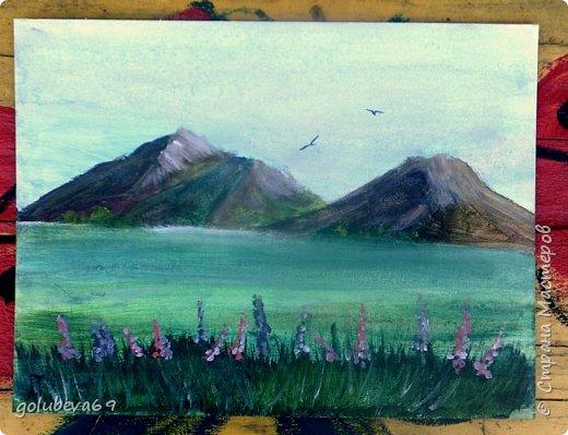 """Горный пейзаж. Картон 30Х40, акрил. Картина нарисована по МК на Ютубе """"картина за 3 минуты"""". Рисовала Анжелика 8 лет, я ей помогала. фото 1"""