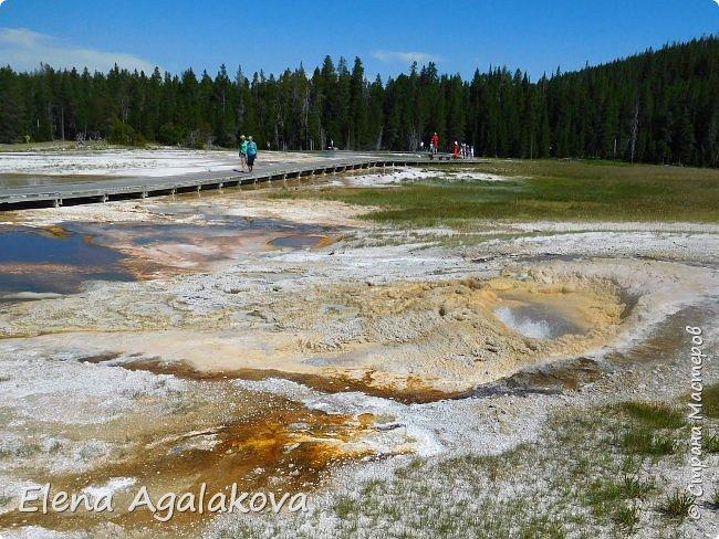 Хочу поделится впечатлениями от поездки в Йе́ллоустон (Yellowstone National Park)— международный биосферный заповедник, объект Всемирного Наследия ЮНЕСКО, первый в мире национальный парк (основан 1 марта 1872 года).  Находится в США, на территории штатов Вайоминг, Монтана и Айдахо.  Парк знаменит многочисленными гейзерами и другими геотермическими объектами, богатой живой природой, живописными ландшафтами.  ( взято из Википедии ) Мы останавливались в кемпингах в палатках. Парк произвел на нас огромное впечатление. Очень хочется поделится с вами красотой которую я увидела.  фото 7