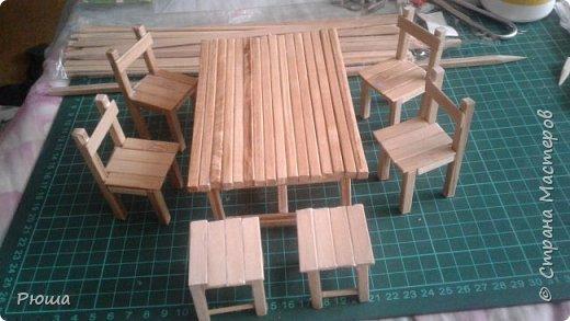 Вот такая мебель у меня получилась в столовую домика, для куколок фото 14