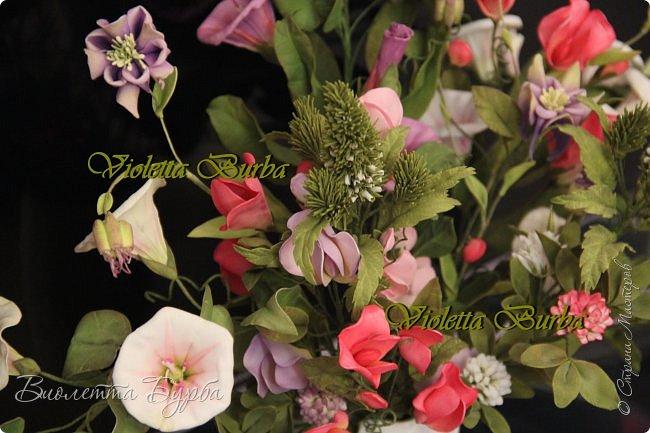 Доброе время суток! Давно не заглядывала в СМ! Соскучилась!!! Дарю Вам свое летнее настроение - букет цветов из фоамирана. В букете: Аквилегия, Вероника, Душистый горошек, Въюнок или Ипомея и Клевер. фото 1