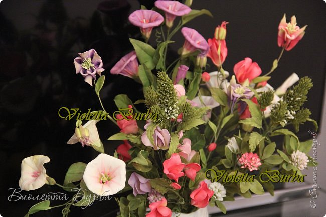 Доброе время суток! Давно не заглядывала в СМ! Соскучилась!!! Дарю Вам свое летнее настроение - букет цветов из фоамирана. В букете: Аквилегия, Вероника, Душистый горошек, Въюнок или Ипомея и Клевер. фото 3