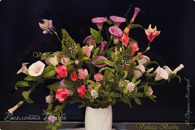 Доброе время суток! Давно не заглядывала в СМ! Соскучилась!!! Дарю Вам свое летнее настроение - букет цветов из фоамирана. В букете: Аквилегия, Вероника, Душистый горошек, Въюнок или Ипомея и Клевер. фото 4