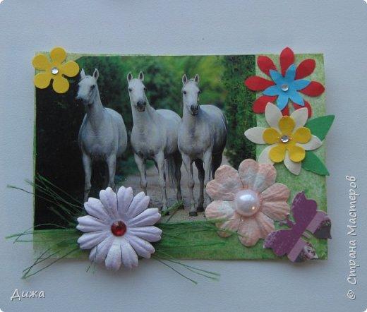 """Всем огромный приветик! Представляю вам АТС карточки """"Бегущие с ветром"""" Техника аппликация, фон  раскрасила акварельными красками (техника набрызг), приклеила картинки лошадей,  приклеила цветочки (подарочки мастериц), стразы, полубусины, блеск для ногтей (серебристый, синий, голубой, розовый, золотистый), сетка (белая, голубая), пряжа -травка, вата-снег, ракушки и камни.  Я должна АТС карточку мастерицам Полина К Мелоди  (Полина), Юля Самоделкина (Юля) и ИРИСКА 2012 (Ирина), прошу их выбирать первыми, если им понравиться. фото 2"""