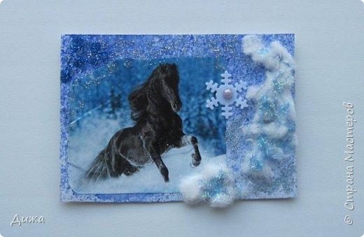 """Всем огромный приветик! Представляю вам АТС карточки """"Бегущие с ветром"""" Техника аппликация, фон  раскрасила акварельными красками (техника набрызг), приклеила картинки лошадей,  приклеила цветочки (подарочки мастериц), стразы, полубусины, блеск для ногтей (серебристый, синий, голубой, розовый, золотистый), сетка (белая, голубая), пряжа -травка, вата-снег, ракушки и камни.  Я должна АТС карточку мастерицам Полина К Мелоди  (Полина), Юля Самоделкина (Юля) и ИРИСКА 2012 (Ирина), прошу их выбирать первыми, если им понравиться. фото 4"""