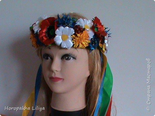Сборка украинского венка из полевых цветов канзаши 1 и 2 части фото 1