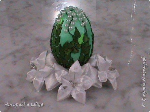 Декоративное пасхальное яйцо в стиле канзаши - ландышы