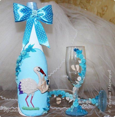 Бокалы и бутылочка на рождение мальчика фото 3