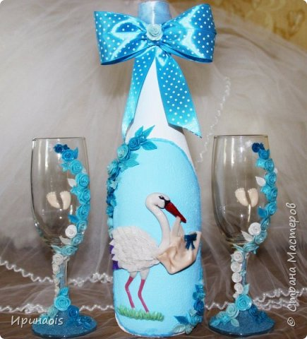 Бокалы и бутылочка на рождение мальчика фото 1