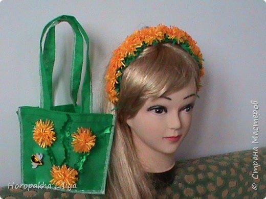 Сумочка для девочки с цветами канзаши в комплекте с обручем