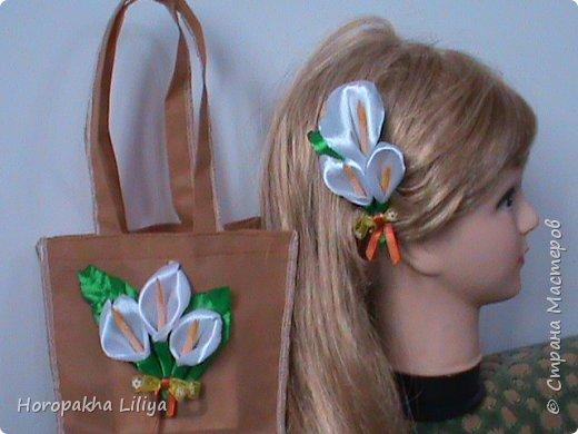 Летний комплект для девочки в стиле канзаши фото 4