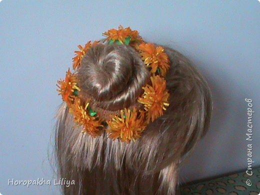 Резиночка на пучек волос с цветами канзаши фото 2