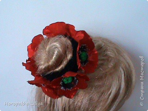 Резиночка на пучек волос с цветами канзаши фото 3