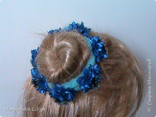 Резиночка на пучек волос с цветами канзаши фото 4