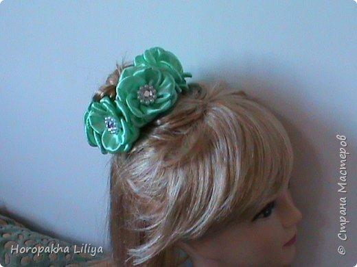Резиночка на пучек волос с цветами канзаши фото 5