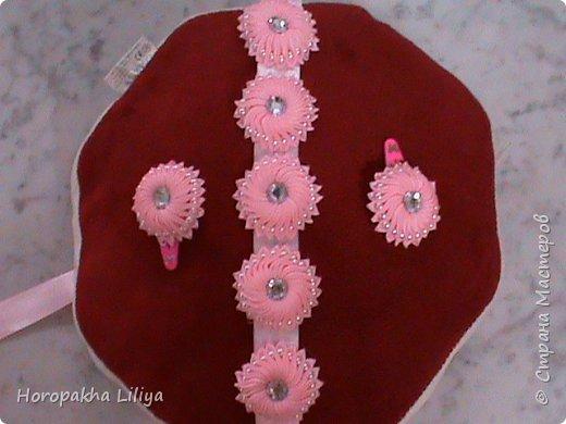 Поясок и заколочки с цветами канзаши для наших маленьких принцесс фото 1
